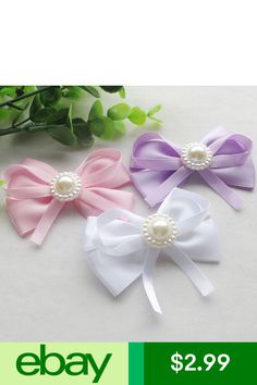 Set of 2 ~ Easy Squeeze Snap Closures White Doiley Lace /& Ribbon Hair Bows