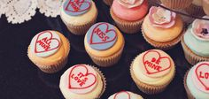 Love Heart Cupcakes with Love Sayings. Available in a variety of flavours like vanilla, chocolate, red velvet, and more! Heart Cupcakes, Mini Cupcakes, Beautiful Wedding Cakes, Red Velvet, Vanilla, Chocolate, Sayings, Desserts, Food