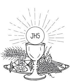 Holy Eucharist / First Communion Catholic Coloring Page