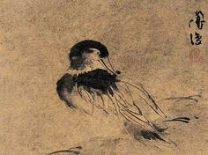 Ming and Qing Dynasty, 15th century, bird ink painting by Bian Jingzhao