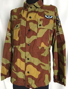 Vtg 1966 Italian Army Military Camo COMMANDO Paratrooper Jacket Large