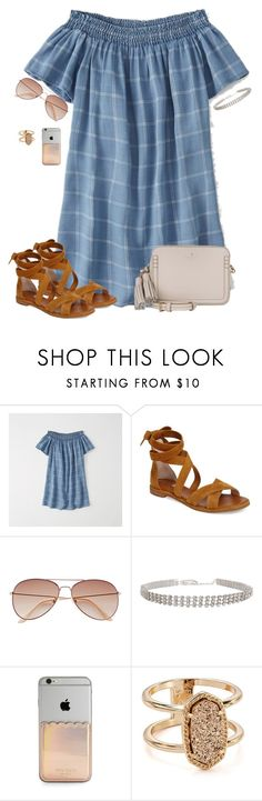 """""""*wears Sherpa jacket when it's 70 degrees out *"""" by christyaphan ❤ liked on Polyvore featuring Abercrombie & Fitch, Louise et Cie, H&M, Kate Spade and Kendra Scott"""