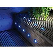 Apollo Blue LED Recessed Deck Lighting Kit, Pack of 10 - B&Q for all your home and garden supplies and advice on all the latest DIY trends Recessed Spotlights, Bright Floor Lamp, Cool Floor Lamps, Stair Lighting, Outdoor Lighting, Garden Exterior Lighting, Torchiere Floor Lamp, Decking