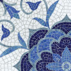 Aurelia, a handmade mosaic shown in Lapis Lazuli, Iolite, Mica, Absolute White, and Blue Spinel Sea Glass™ is part of the Sea Glass™ Collection by Sara Baldwin for New Ravenna.