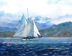 Watercolor ORIGINAL  Good Morning for Adventure  sailing
