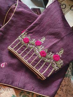 New Saree Blouse Designs, Half Saree Designs, Simple Blouse Designs, Stylish Blouse Design, Hand Work Blouse Design, Hand Work Design, Hand Embroidery Dress, Embroidery Blouses, Aari Embroidery