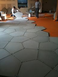 Concrete floor tiles for the basement.
