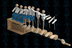 Wave or Ola or Mexican Wave or La Ola Kinetic Toys, Kinetic Art, Wood Projects, Woodworking Projects, Wood Crafts, Diy And Crafts, Marble Machine, 3d Cad Models, Mechanical Design