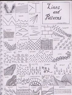 To Draw: Zentangle inspiration [Teaching art] Doodle Patterns, Zentangle Patterns, Line Patterns, Middle School Art, Art School, High School, Art Handouts, Art Worksheets, Ecole Art