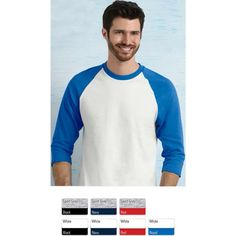 """Gildan (R) heavy cotton adult 3/4 raglan t-shirt. Made of 8.9 oz., 100% cotton preshrunk jersey knit fabric. Contrast color set-in collar and 3/4 raglan sleeve, single-needle topstitched back neck, double-needle sleeve and bottom hems, tearaway label, and quarter-turned to eliminate center crease. """"Products ship within Canada only""""."""