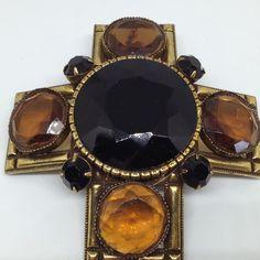 Signed ORIGINAL BY ROBERT Vintage MALTESE CROSS BROOCH PIN Glass Rhinestone    eBay