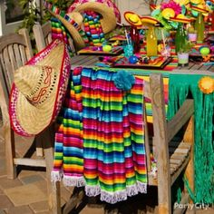 Mexican Fiesta Party Table Settings | Serapes and sombreros make excelente decor! Get everyone dressed in ...