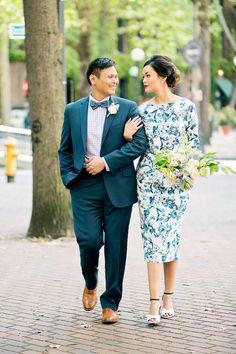 Jael and Gilbert's Seattle Courthouse Wedding. Photography by Betty Elaine. See more.... @intimateweddings.com #printeddress #weddingdress