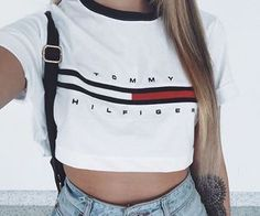 Fashion Womens Sexy Loose Pullover T Shirt Short Sleeve Cotton Tops Shirt Blouse Women's Summer Fashion, Look Fashion, Fashion Outfits, Womens Fashion, Fashion Shirts, Ladies Fashion, Tommy Hilfiger Mujer, Tommy Hilfiger Crop Top, Tommy Hilfiger Outfit