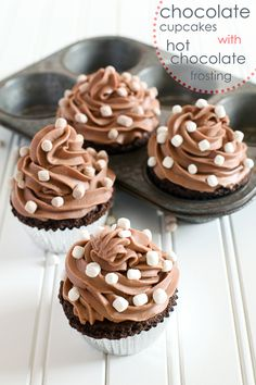 Chocolate Cupcakes with Hot Chocolate Frosting