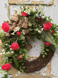 Spring Wreath, Summer Wreath, Front Door Wreath, Mother's Day Gift by FlowerPowerOhio on Etsy