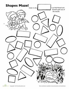 Story Time Worksheet: Hansel and Gretel Shape Maze This forest is scary! Help Hansel and Gretel find their way out by making a path of rectangles. This exercise is a fun way to teach your preschooler to recognize shapes. Preschool Lessons, Preschool Worksheets, Kindergarten Activities, Preschool Activities, Preschool Shapes, Book Activities, Maze Worksheet, Fairy Tale Theme, Fairy Tales