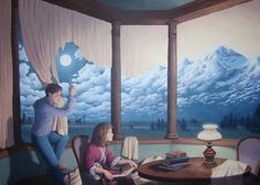 Rob Gonsalves prints, Rob Gonsalves art and great surrealism art featured at beautiful Lake Tahoe art gallery, Marcus Ashley Gallery. See the Magical Realism of Rob Gonsalves. Optical Illusion Paintings, Amazing Optical Illusions, Illusion Kunst, Illusion Art, Canadian Painters, Canadian Artists, Magic Realism, Realism Art, Robert Gonsalves