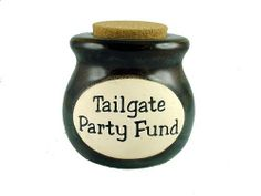Tailgate Party Fund - Novelty Jar - Bank by MSI. $18.99. This novelty ceramic jar is beautifully crafted out of ceramic and the paint has a glossy finish. They can be used for hundreds of different items and the cork top will help assure your product remains concealed and fresh. Collect them all!