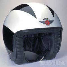 Davida jet Helmets:  special Black/3 White Lines  Product Code: 80244