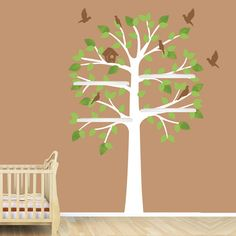 White Tree Wall Decal, Baby Nursery Decor, Shelving Tree, Shelves, Shelf, Tree Sticker (Narrow Shelf Tree) via Etsy   by NURSERYDECALSNMORE