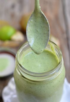 A copy cat Cafe Rio Dressing recipe. Creamy Tomatillo Cilantro Ranch Dressing | mountainmamacooks.com