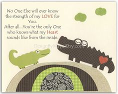 Baby Wall Art, Kids Room Decor, Nursery Art, Baby Alligator, Brown Green Crocodile, No One Else ... The Strength Of My LOVE For You