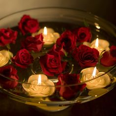 roses and floating candles...