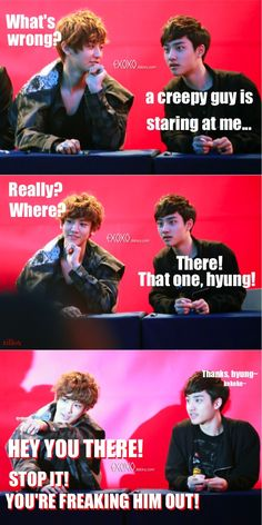 This probably did happen...weirdos xD. We all know only Jongin can stare at Soo xD