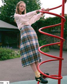 oldies yellow socks plaid skirt