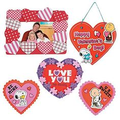Valentine Day Craft kit  Heart Picture Photo Frame Kit Peanut Snoopy Magnets Love Sign Decor Kit  Love You to Pieces Kit  Classroom Exchange Sunday School Homeschool Art Supplies Activities Gift *** Read more reviews of the product by visiting the link on the image.