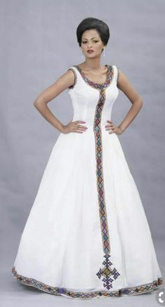 For inspiration only. Add your fringes and ribbon of blue. Beautiful Ethiopian Dress I love it African Dresses For Women, African Print Dresses, African Print Fashion, African Attire, African Wear, African Fashion Dresses, African Women, Ghanaian Fashion, Tribal Fashion