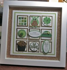 This lovely framed art is way prettier and glitzier in person! Box Frame Art, Shadow Box Frames, Collage Frames, Paper Frames, St Patricks Day Cards, Scrapbook Cards, Scrapbooking, St Patrick's Day Crafts, Small Art