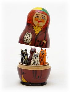 Crazy Cat lady Matryoshka doll.   http://www.polartcenter.com/Autumn_Whiskers_Surprise_Nesting_Doll_Set_of_5_p/9703405.htm
