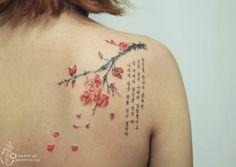 15 beautiful tattoos that look like watercolour paintings: Korean letters