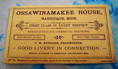 Business Card from the Ossawinamakee Hotel – George Orr Collection donated by Chris Orr