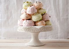 Meringues are really the most perfectly light sweet treat. The basic egg white and sugar base makes these crispy-on-the-outside, chewy-on-the-inside bites a cinch to whip up, and even easier to trick out to your taste. For us, tart raspberries, nutty pistachios, and orange-zested chocolate are go-to add-ins to round out this dessert for spring snacking, especially when they're dyed a perfect pastel palette. Just look at those puffy silhouettes—you couldn't ask for a cuter DIY dessert.