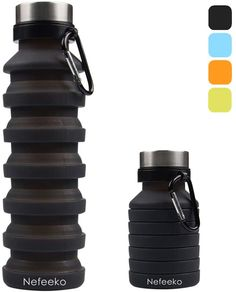Nefeeko Collapsible Water Bottle, Reuseable BPA Free Silicone Foldable Water Bottles for Travel Gym Camping Hiking, Portable Leak Proof Sports Water Bottle with Carabiner, Travel Water Bottle, Water Bottle Design, Collapsible Water Bottle, Insulated Water Bottle, Kids Camping Gear, Foldable Water Bottle, Filtered Water Bottle, Emergency Preparation, Drink Bottles