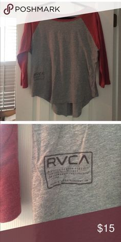 RVCA Baseball Tshirt Gray and Red Baseball Tshirt from RVCA. Size Large. Great Condition! Tops Tees - Long Sleeve