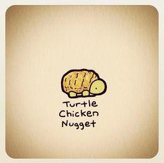 Turtle chicken nugget Cute Turtle Drawings, Cute Animal Drawings, Kawaii Drawings, Easy Drawings, Tiny Turtle, Turtle Love, Cute Turtles, Baby Turtles, Cute Cartoon Food