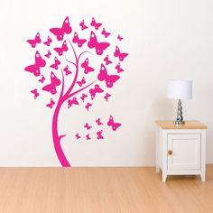 Adesivo decorativo de parede - árvore, borboletas.