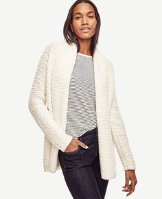 """Keep+cozy+throughout+the+season+with+our+richly+stitched+open+cardigan+-+a+must-have+for+days+in+or+weekends+out.+Open+front.+Long+raglan+sleeves.+Elliptical+hem.+Ribbed+cuffs+and+hem.+26+1/2""""+front+length;+28+1/2""""+back+length."""