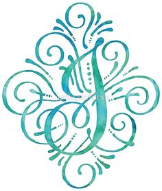 Monogram by JunkyDotCom – Curly watercolor hand painted calligraphy monogram letter J in turquoise teal and mint. Any design wishes? Different letter? Different color? Just contact me and I will make it for you without extra costs. • Buy this artwork on apparel, kids clothes, stickers, and more.