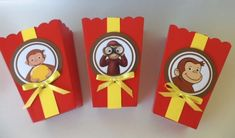 Curious George Party favors/ goodie bags/ Popcorn Candy Box SET OF 10 Curious George Party, Curious George Birthday, Kids Birthday Themes, 3rd Birthday Parties, 2nd Birthday, Monster University Party, Monster Truck Party, Alice In Wonderland Party, Goodie Bags