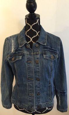 Baccini Blues Women's Denim Jean Jacket Slightly Distressed Edgy Size Medium #Baccini #JeanJacket
