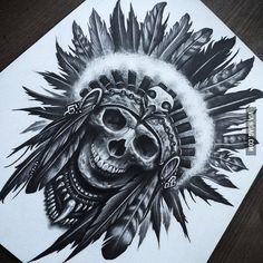 45 Pretty Skull Headdress Tattoo Design For Shading Juncha Tattoo, Leg Tattoos, Body Art Tattoos, Tattoos For Guys, Sleeve Tattoos, Cool Tattoos, Tattoo Thigh, Tattoo Style, Sick Tattoo