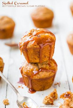 Salted Caramel Buttermilk Brown Sugar Muffins - Soft, fluffy muffins that are dripping with salted caramel! Best breakfast ever! @Averie Sunshine {Averie Cooks}