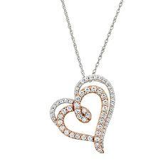 TrioStar Round Diamond 14K White Gold Over Love Heart Pendant Valentine Gift for Her