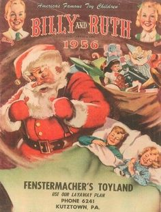 Vtg 1956 Billy and Ruth Christmas Toy Catalog-Dolls, Lionel Trains, Games. Vintage Santa Claus, Vintage Santas, Vintage Holiday, Vintage Ads, Vintage Images, Christmas Catalogs, Christmas Toys, Christmas Holidays, Christmas Things