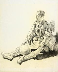 Willaim Orpen. After a Fight 1917. A study of a young Scottish infantryman in kilt and full kit. He sits on the ground exhausted, holding his steel helmet in his right hand and staring into the distance.